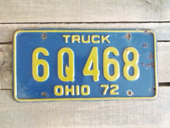 Vintage 1972 Blue Ohio License Plates Farm or Truck