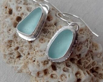 Soft Aqua Blue Sea Glass Earrings - Natural Sea Glass, Genuine Sea Glass - Sea Glass Jewelry