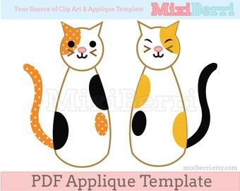 Twin Cat Appliqué Sewing Pattern PDF Applique Template Instant Download