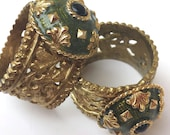 Upcycled Vintage Estate Jewelry Napkin Rings,  Set of 2,  Recycled Repurposed, Handmade, Brass and Green Enamel