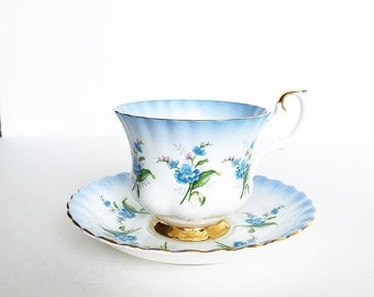 Vintage Tea Cup Blue Flowers Gold Trim ~ Made in England~ Cup & Saucer~ Royal Albert - Bone China