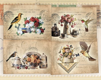 Vintage birds Digital collage sheet Greeting cards Printable digital cards Vintage images Paper chraft