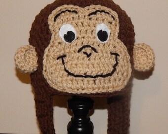 Curious George Hat, Monkey Costume, Monkey Hat, Newborn Photo Prop, Curious George Costume, Baby Monkey Costume