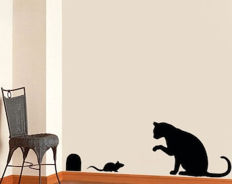 Cat & mouse stencil, cat home decor, cat wall stencil, painting stencils, art craft stencils