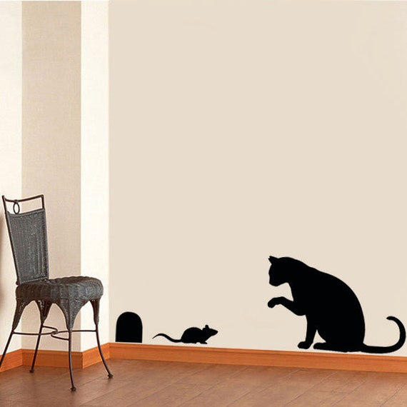 cat mouse stencil cat home decor cat wall stencil