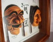 Vintage Exorcism Masks in shadow box Play Of Hahoe Byeolsin Korean shaman rituals theatre dance