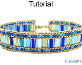 Beading Tutorial Pattern Bracelet - Bugle Peyote Stitch - Simple Bead Patterns - Cleopatra #18481