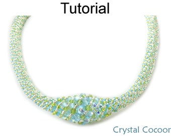 Beading Tutorial Pattern Necklace - Russian Spiral Stitch - Simple Bead Patterns - Crystal Cocoon #18596