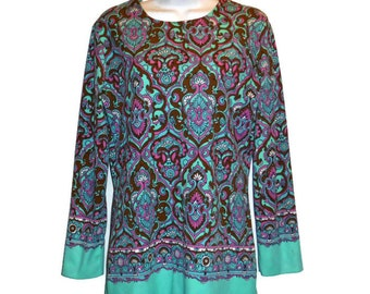 Vintage 60s 70s  Aileen brand ladies teal turqoise brown patterned blouse