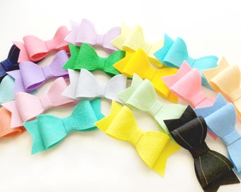 Sadie Bow Set, Set of Three, Six, or Twelve 4 Inch Felt Bows on Alligator Clips or Elastic Headbands