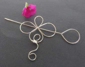 Silver Hair Fork, Hair Accessory, Hair Stick, Hair Decoration, Flower, Metal Hair Clip, Hair Barrette, Hair Accessories, Hair Pick
