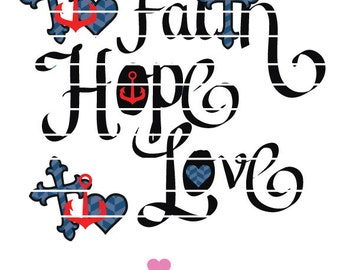 Faith Hope Love Vinyl SVG Design for Cricut or Silhouette cutters and anchor .eps .studio files