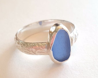 Custom Genuine Sea Glass Ring with Small Sea Glass,  Sea Glass Stack Ring, Genuine Beach Sea Glass, Beach sea glass ring