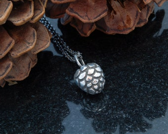 Hand sculpted pinecone pendant - Oxidized silver 925