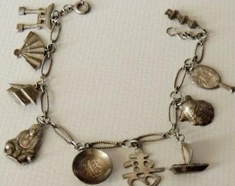 1950s Sterling 950 Japanese Charm Bracelet
