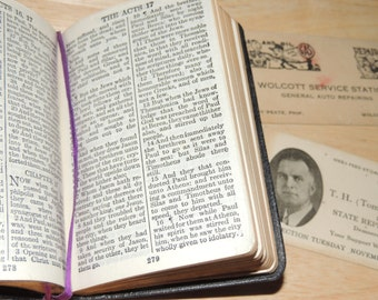 1920s Small bible in the original box with contents found within the pages