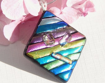 Large Dichroic Glass Pendant - Fused Glass Jewelry - Diamond Shape Glass Statement Necklace