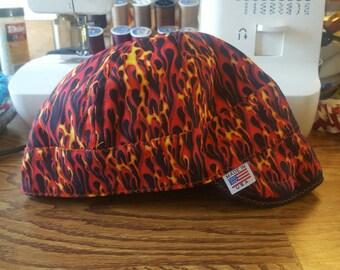 Red Flames Short Crown Welding Cap