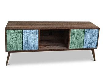 Flash Sale! Eco Recycled Solid Timber Modern Mid Century Retro Wooden TV Stand Entertainment Media Unit With Shelves in Teal Green & Blue