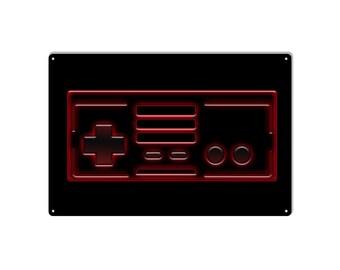 Retro 8 bit controller metal sign