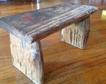VINTAGE RUSTIC HANDMADE wooden small milking gardening stool bench primitive
