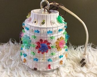 VTG Lawnware Hanging Swag Lamp Light RV Camping Multi Color Beads Doves Tiki