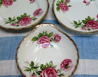 "Tea Serving Set, 3 Pc, Pink Roses, Bone China, ""Orleans Rose"""