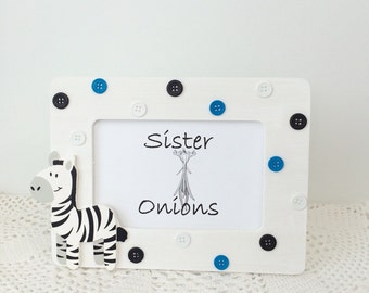 Baby Button Frame - Zeke Zebra Embellished Picture Frame - Nursery Decor