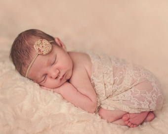 Cream or Tan Vintage Fabric Rolled Rose Headband for Newborn Photo Shoot, CONVO Me ABOUT SALE: Newborn Headband, Toddler Headband,Photo Prop