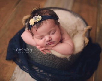 Navy Blue Lace Wrap with A Scalloped Edge for Newborn Photo Shoot, Newborn Photo Prop, Newborn Wrap, Infant Wrap, Newborn Photography