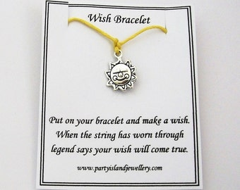 Yellow SUN Friendship Wish Bracelet with Wish Message Card - Summer Beach Holiday