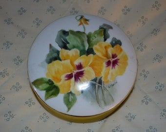 ON SALE   Vintage China BoxWith Painted Yellow Pansies on the Lid
