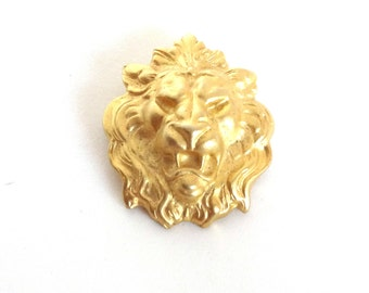 Vintage LION Pin Brooch Gold Metal Big Cat Bold Statement Jewelry