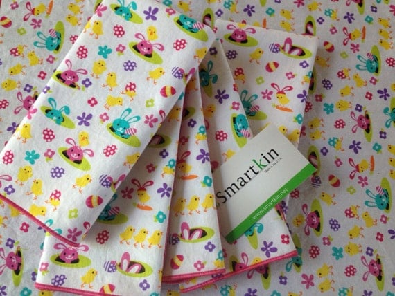 Easter All Cotton Cloth Napkin 15x15 Yellow Chicks and Pink Bunnies Dinner Napkin by Smartkin