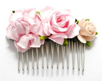 Pink Rose Mixed Floral Hair Comb/ Bright Fushia/ Vintage/ Traditional/ Bridal/ Wedding Hair Accessories/ Bridesmaid Hair Piece/