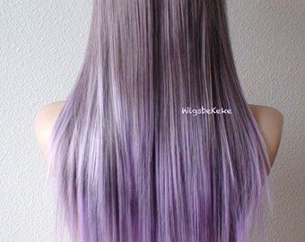 Purple / Lavender wig. Long straight hair long side bangs wig. Durable Heat resistant Fashion hairstyle wig for daily use or Cosplay.