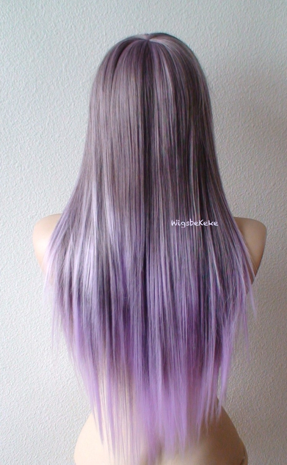 Purple Lavender Wig Long Straight Hair Long Side Bangs Wig