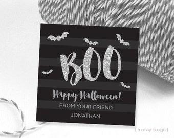 Silver Glitter Halloween Tags Printable Boo Black Stripes Black Silver Halloween Labels Bats Stickers Halloween Favor Tags Digital