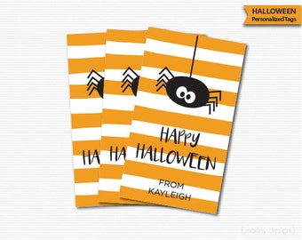 Halloween Tags Orange Stripes Black Spider Halloween Favors Kid Halloween Labels Halloween Favor Tags Halloween Party Printable Personalized