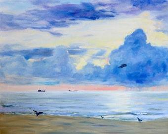 Original ocean sunset oil painting/large sky and clouds landscape/birds on beach/Florida coast/ Coastal decor/ peaceful/ calm/Garima Parakh