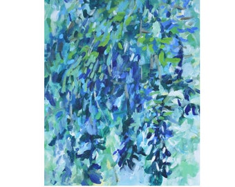 Large teal expressionist painting/ blue green abstract/ original willow tree/ Modern Abstract aqua blue leaves/ Bold/Vertical canvas