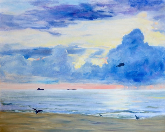 Original ocean sunset oil painting/large sky and clouds landscape/birds on beach/Florida coast/ Coastal decor/ peaceful/ calm/Garima Parakh