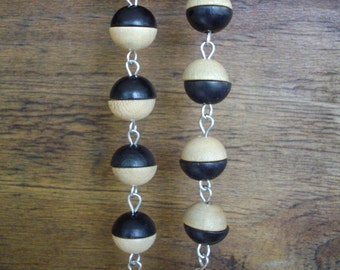 Black and Blonde Wooden Bead Necklace