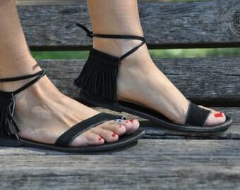 Black Suede Leather Sandals, Fringe Hippie Leather Sandals, Black Sandals, Flat Sandals, Summer Shoes, Barefoot Sandals