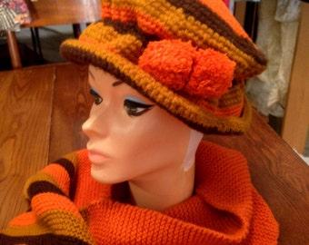 "Vtg. Ali MacGraw ""Love Story"" Crochet Hat & Matching Scarf"