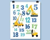 Kid's Art Construction Numbers Art Print Boy's Room Decor Playroom Nursery Home Decor  Wall Art Fun Birthday Keepsake Gift