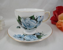 1960s Vintage English Queen Anne Bone China Teacup Blue Rose Footed English Teacup and Saucer English Tea cup 8082