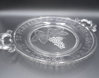 """c1900 Vintage EAPG Pressed Glass Pie Plate """"It is a Pleasure to Labor for Those We Love"""""""