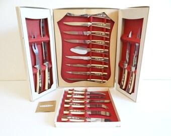 1950s Regent Sheffield 19 Piece Knife Set in Original Box - Steak Knife Set - Cheese Knife Set - Carving Knife Set