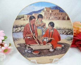 """1992 Hamilton Collection """"Preparing the Berry Harvest"""" Proud Indian Families Collector Plate Limited Edition"""